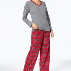Charter Club Flannel Printed 2PC Pajama Set
